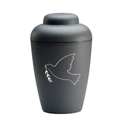 sort urne med fugl