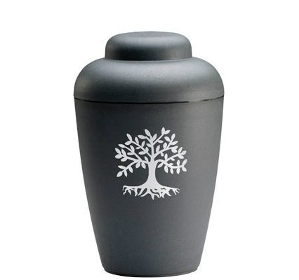 sort urne med træ